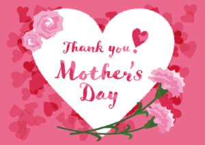 母の日の無料店舗ポップ ハートとカーネーションのデザイン ピンク色ver