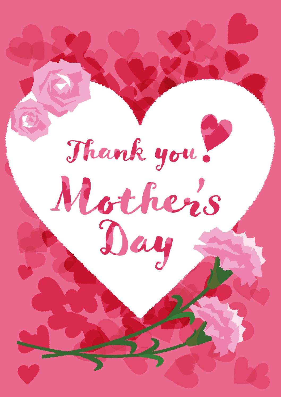 母の日の無料店舗ポップ ハートとカーネーションの縦長デザイン ピンク色ver