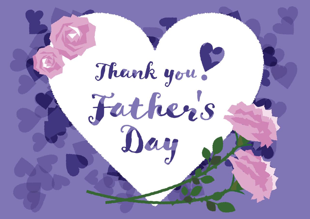 父の日の無料店舗ポップ ハートとバラのデザイン 紫色ver
